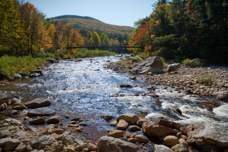 river maine fall foliage leaves yellow red orange bridge rapids scenic beauty